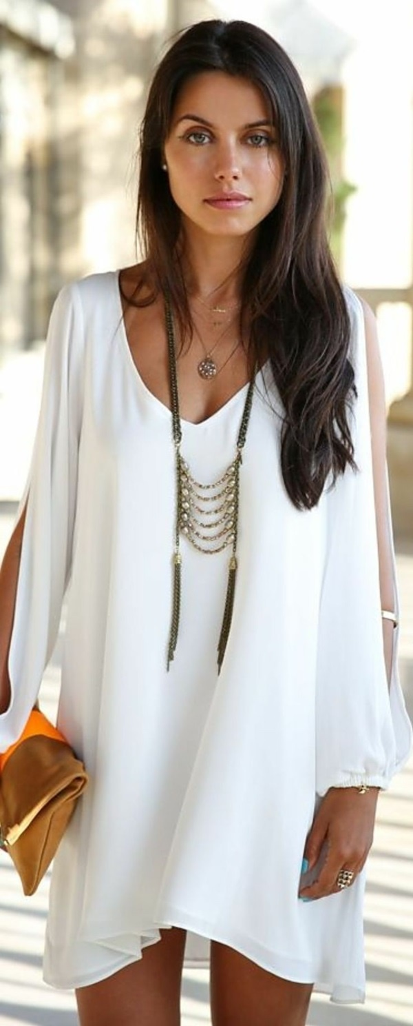 7740b4894755 Loose White Dress and Upstyle Necklace. boho chic fashions outfits0411.  Invigorate your style with ...