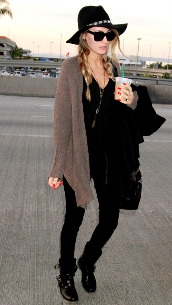 Black Shirt and Pants with Brown Cardigan. boho chic fashions outfits0551 d1ede82cd836