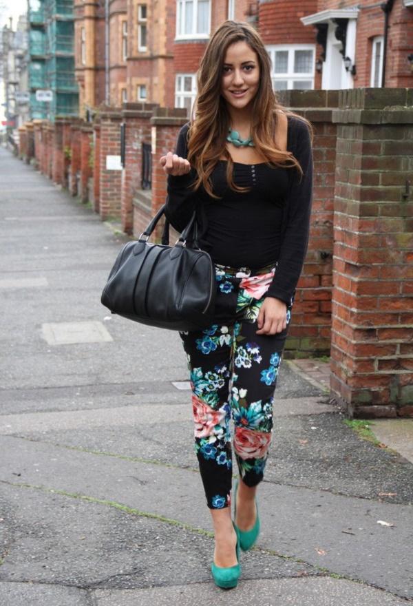 black floral pants outfits (1)