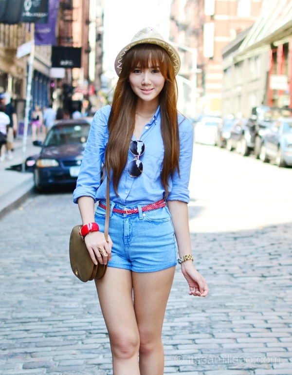 high waisted shorts and jeans outfits (10)