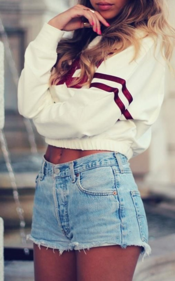 high waisted shorts and jeans outfits (80)